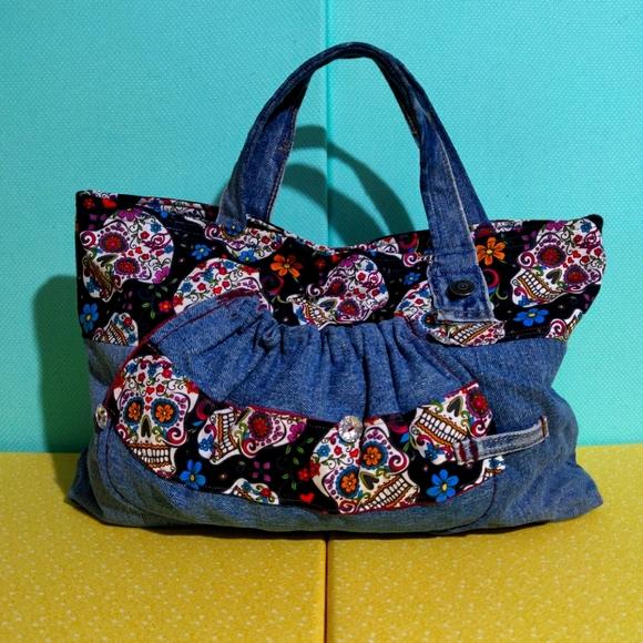 Handmade Handbag Skulls Denim NWOT
